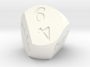 Weird D6 Rounded Dipyramid in White Processed Versatile Plastic