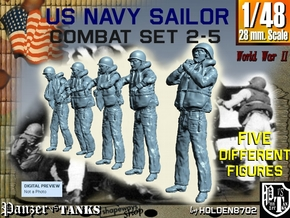 1-48 US Navy Sailors Combat SET 2-5 in Smooth Fine Detail Plastic