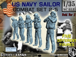 1-35 US Navy Sailors Combat SET 2-5 in Smooth Fine Detail Plastic