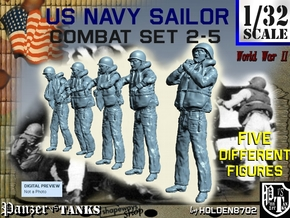 1-32 US Navy Sailors Combat SET 2-5 in Smooth Fine Detail Plastic