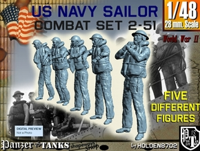 1-48 US Navy Sailors Combat SET 2-51 in Smooth Fine Detail Plastic