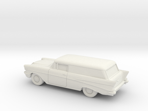 1/87 1957 Chevrolet 2 Door Delivery in White Natural Versatile Plastic