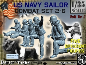 1-35 US Navy Sailors Combat SET 2-6 in Smooth Fine Detail Plastic