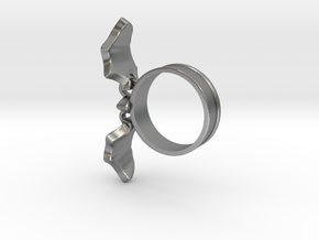 Flying Bat Charm Ring in Interlocking Raw Silver: 5 / 49
