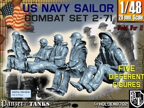 1-48 US Navy Sailors Combat SET 2-71 in Smooth Fine Detail Plastic