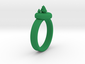 ChristmasTrees Ring Ø0.677 inch/Ø17.20 Mm in Green Processed Versatile Plastic: 1.5 / 40.5