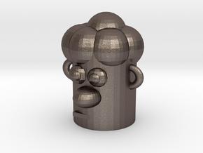 Cartoonish Human Head in Polished Bronzed Silver Steel