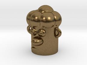 Cartoonish Human Head in Natural Bronze