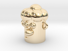 Cartoonish Human Head in 14k Gold Plated Brass