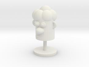 Cartoonish Human Head W/ Stand in White Natural Versatile Plastic