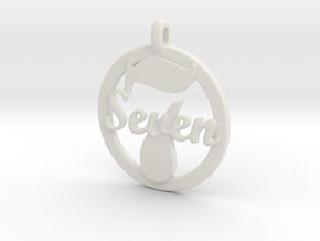 LUCKY Seven Symbol Jewelry Pendant CHARM GIFT in White Natural Versatile Plastic
