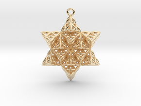 "Flower of Life TetraStar 1.5"" in 14k Gold Plated Brass"