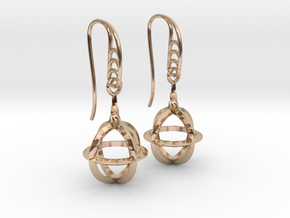 Sphere Cage (vane Hooks) in 14k Rose Gold Plated Brass
