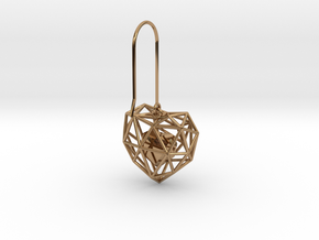 Metal Wireframe Heart Earring in Polished Brass (Interlocking Parts)