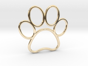 Paw Print Pendant - Large in 14k Gold Plated Brass