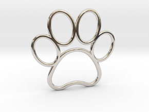 Paw Print Pendant - Large in Rhodium Plated Brass
