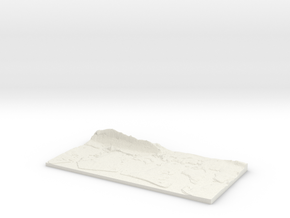 3D Relief map of Portsmouth, Langstone and Chiches in White Natural Versatile Plastic