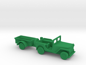 1/110 Scale MB Jeep And Trailer in Green Strong & Flexible Polished