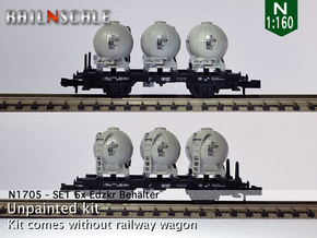 SET 6x Edzkr 571 Behälter (FLM/MTX) (N 1:160) in Frosted Ultra Detail