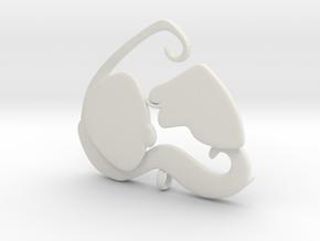 Dog Mom Kisses Pendant in White Natural Versatile Plastic
