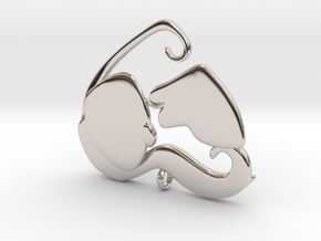 Dog Mom Kisses Pendant in Rhodium Plated Brass
