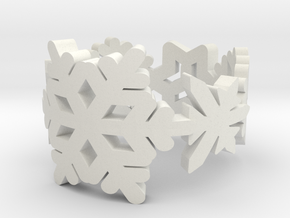 Snowflake Ring in White Natural Versatile Plastic