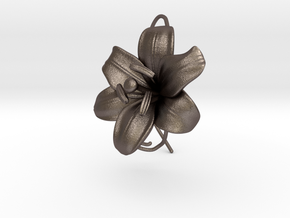 AirCharm Lily Flower - Right in Polished Bronzed Silver Steel