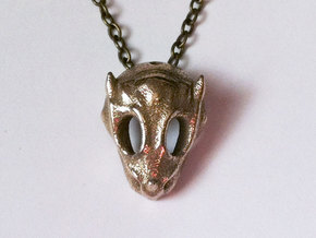 Baby Dragon Skull in Polished Bronzed Silver Steel