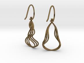 Gentle Flow - Precious Metal Earrings in Polished Bronze (Interlocking Parts)