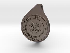 St. John Signet Ring reverse in Polished Bronzed Silver Steel