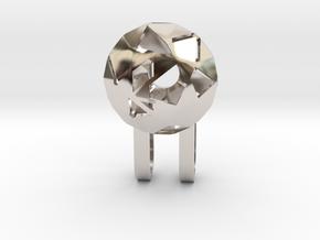 Tiny Phone Lamp - Diamond - S in Rhodium Plated Brass