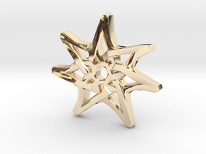 7-Pointed Knotwork Faery Star in 14k Gold Plated Brass