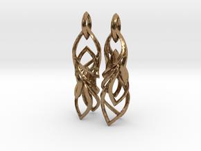 Peifeather Earrings in Interlocking Raw Brass