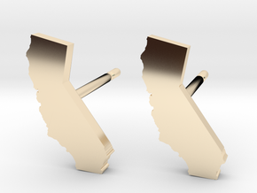 California State Earrings, post style in 14k Gold Plated Brass