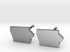 Iowa State Earrings, post style in Polished Silver