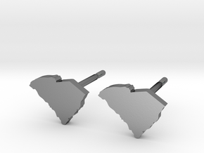 South Carolina State Earrings, post style in Polished Silver
