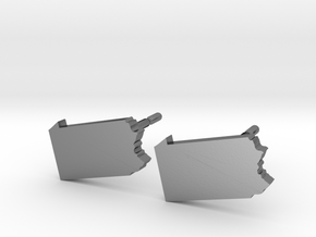 Pennsylvania State Earrings, post style in Polished Silver