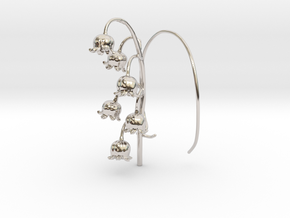 Lily Valley Aircharm - L in Rhodium Plated Brass