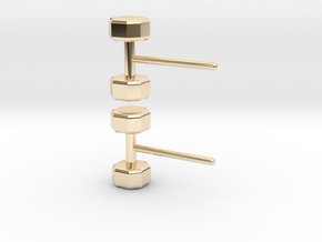 Dumbbells Earrings for the Fitness Fanatic in 14k Gold Plated Brass