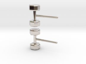 Dumbbells Earrings for the Fitness Fanatic in Rhodium Plated Brass