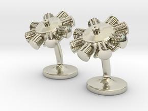 Radial Engine Cufflinks in 14k White Gold
