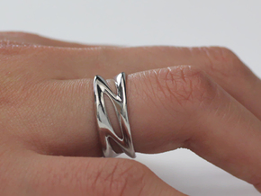Wave Ring in Rhodium Plated Brass: 7 / 54