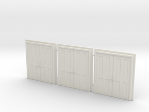 Door Type 9 - 810D X 2000 X 3 - HO Scale in White Natural Versatile Plastic: 1:76