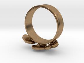 Heart Charm Ring in Interlocking Raw Brass: 5.5 / 50.25