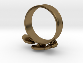 Heart Charm Ring in Interlocking Polished Bronze: 5.5 / 50.25