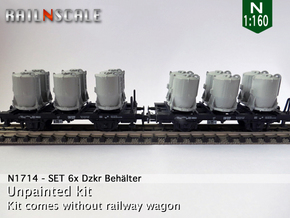 SET 6x Dzkr 501 Behälter (Roco) (N 1:160) in Frosted Ultra Detail