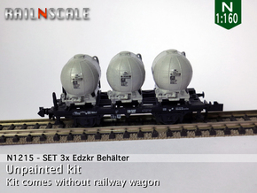 SET 3x Edzkr 571 Behälter (Roco) (N 1:160) in Smooth Fine Detail Plastic
