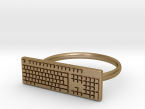 Keyboard Ring US5 in Polished Gold Steel