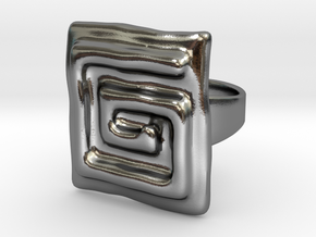 Vortex Squared Ring in Polished Silver: 7 / 54