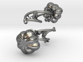 Fairytale Pumpkin Whimsy Earrings in Polished Silver (Interlocking Parts)